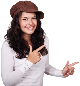 young woman, smiling, pointing fingers to the right