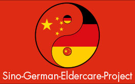 Yin and Yang symbol with the flags of the People's Republic of China and the Federal Republic of Germany