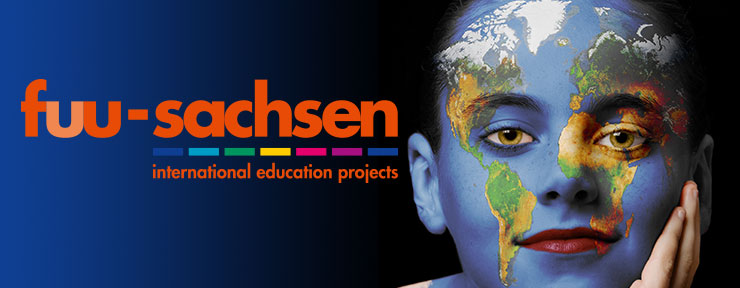 logo fuu-sachsen internatonal and portrait of a boy with world map as face painting