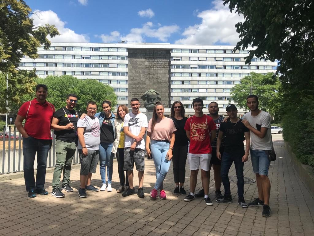 "The group in front of the ""Karl-Marx-Monument"""