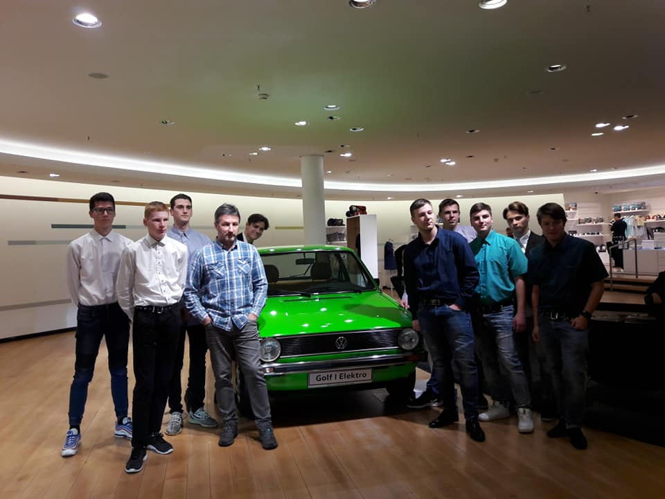 The group at the Volkswagen plant in Dreden
